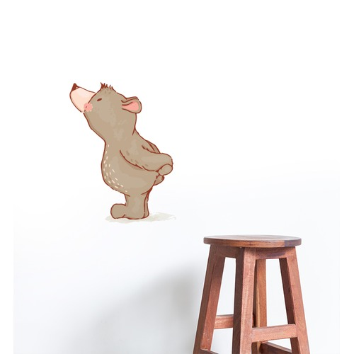 Little Sticker Boy Curious Small Bear Wall Sticker