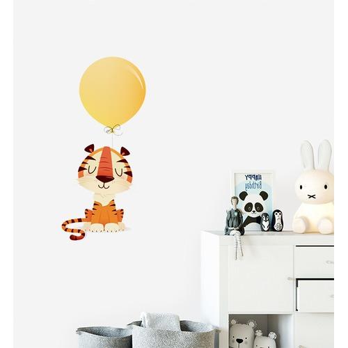 Little Sticker Boy Tiger With Big Balloon Wall Sticker