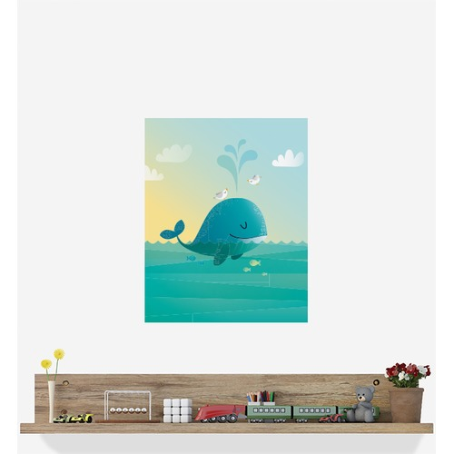 Little Sticker Boy Whale With Bird Friends Wall Sticker