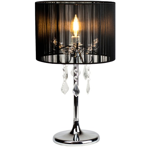 Luminea Black Paris Crystal Metal Table Lamp