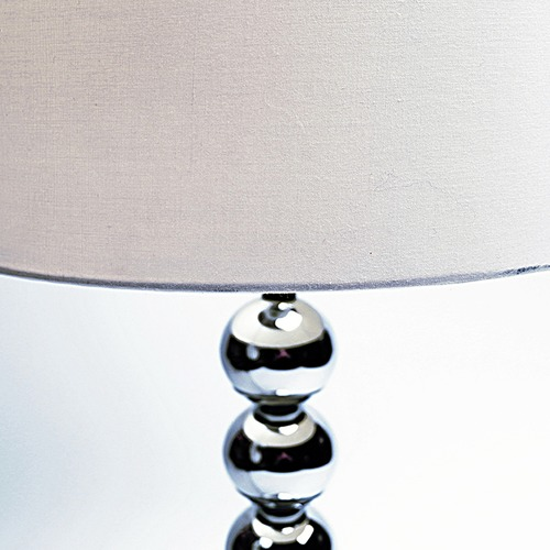 Chrome Ball Table Lamp with White Shade