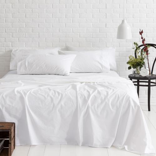 Canningvale White Vintage Softwash Cotton Sheet Set