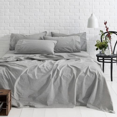 Canningvale Smokey Grey Melange Vintage Softwash Cotton Sheet Set