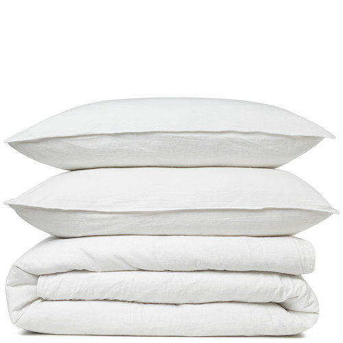 Canningvale Sogno Carrara White Linen & Cotton Quilt Cover Set