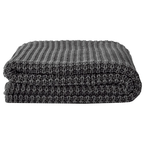 Aura By Tracie Ellis Ribbed Cotton Knit Throw