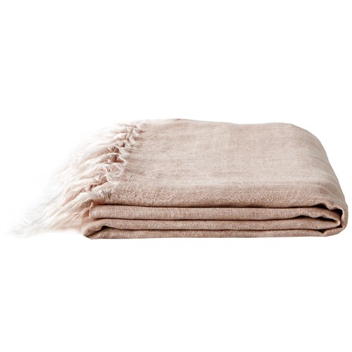 Aura By Tracie Ellis Vintage Wash Linen Fringe Throw