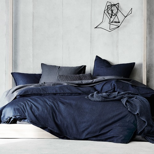 Aura By Tracie Ellis Indigo Denim Cotton Quilt Cover Set