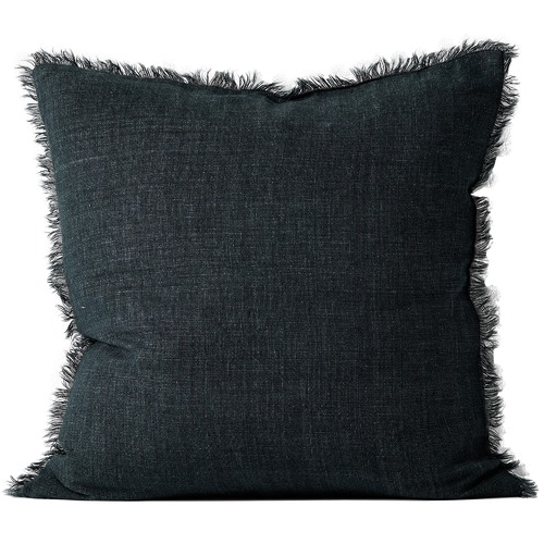 Aura By Tracie Ellis Vintage-Wash Fringed Linen Cushion