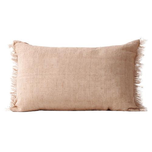Fringed Vintage Style Linen Rectangular Cushion
