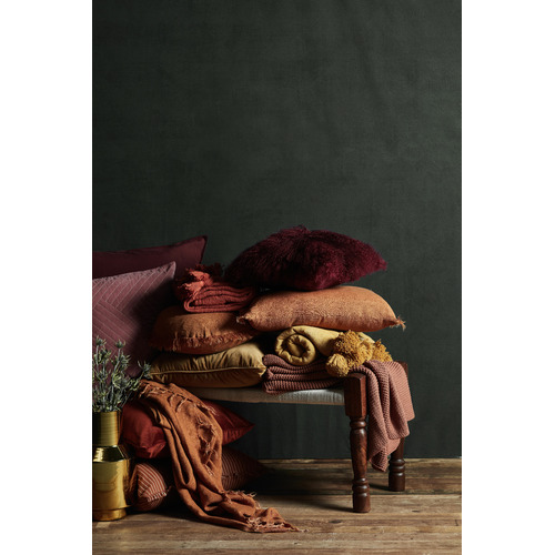 Aura By Tracie Ellis Fringed Vintage Style Linen Throw