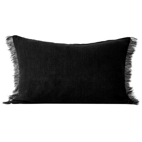 Rectangular Vintage-Wash Fringed Linen Cushion