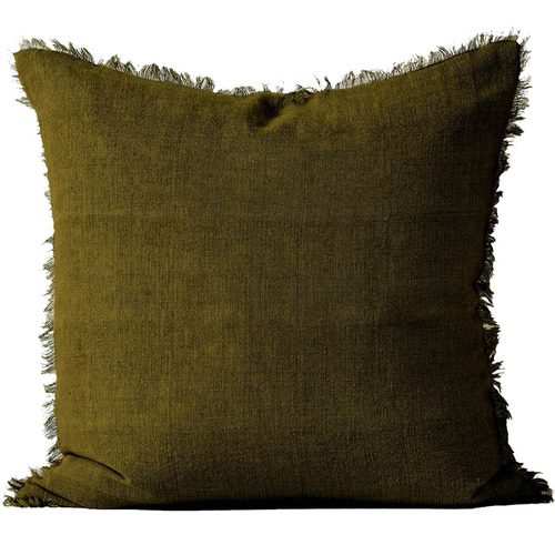 Aura By Tracie Ellis Fringed Vintage Style Linen Square Cushion