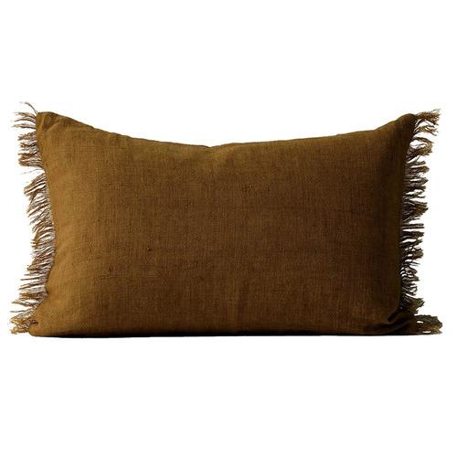 Aura By Tracie Ellis Fringed Vintage Style Linen Rectangular Cushion
