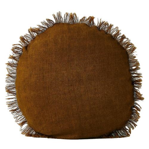 Vintage Fringed Round Linen Cushion