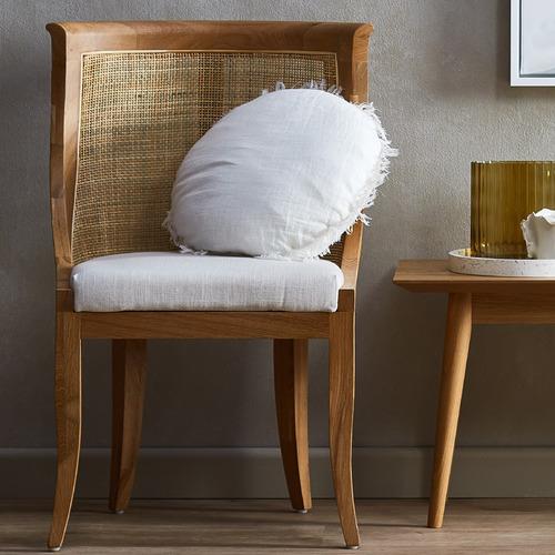 Aura By Tracie Ellis Fringed Vintage Style Linen Round Cushion