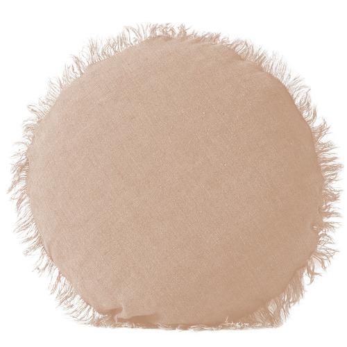 Natural Vintage Linen Round Cushion