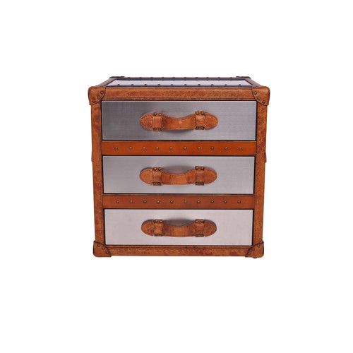 Huntington Lane Hazelnut Vintage Leather U0026amp; Matt Steel 3 Drawer Side  Table Trunk