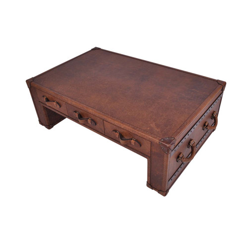 Vintage Leather 3 Drawer Coffee Table