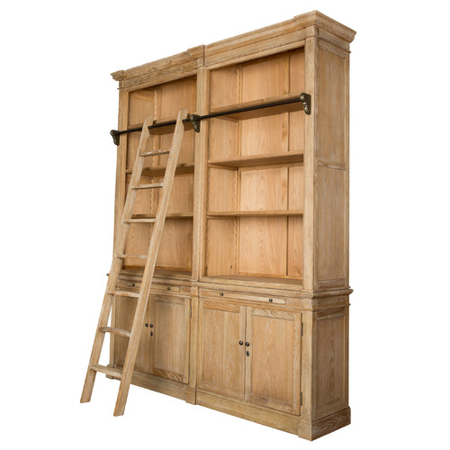 Library 2 Tier Oak Bookcase With Ladder Temple Webster