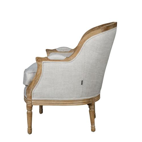 Huntington Lane French Linen Oak Bergere Louis XV Chair