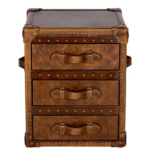 Huntington Lane Vintage Leather 3 Drawer Side Table Trunk