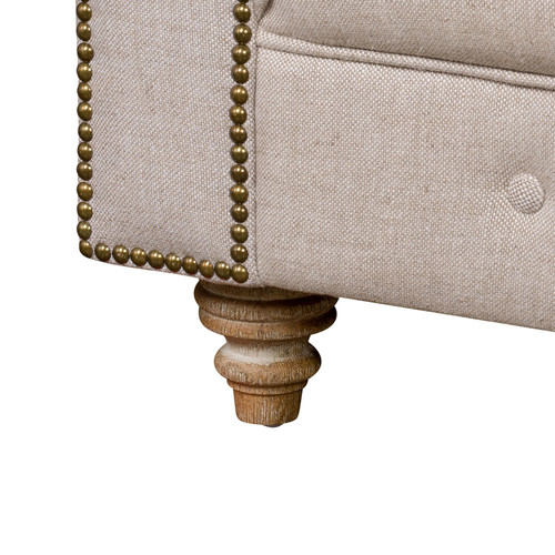 Huntington Lane French Linen Kensington Chesterfield Sofa