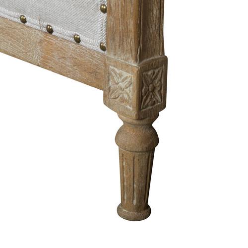 Huntington Lane Georgian French Linen Upholstered Oak Bed Head