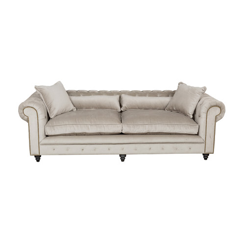 Huntington Lane Chesterfield Kensington Grey Velvet Sofa
