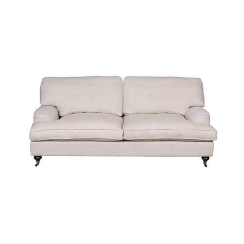 Huntington Lane Sofa Classic Roll Arm French Linen 2.5 Seater Sofa