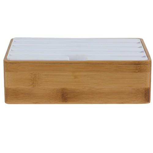 ALLDOCK Medium Bamboo & White Top 4 Port USB Hub