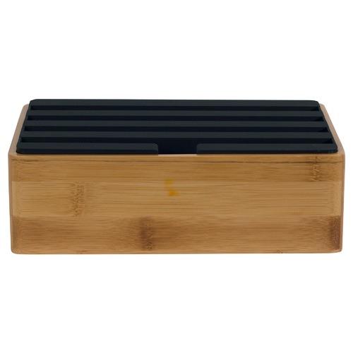 ALLDOCK Medium Bamboo & Black Top 4 Port USB Hub