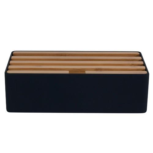 ALLDOCK Medium Black & Bamboo Top 4 Port USB Hub
