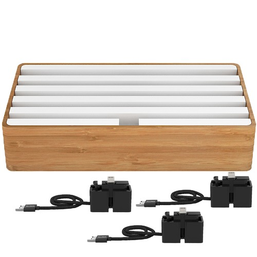 ALLDOCK Large Bamboo & White 6 Port USB  Hub with 3 Magnetic Docking Adapters