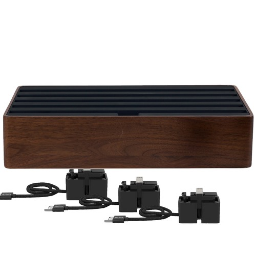 ALLDOCK Large Walnut & Black 6 Port USB  Hub with 3 Magnetic Docking Adapters