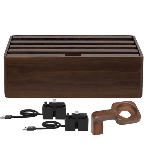 ALLDOCK Medium Walnut 4 Port & ALLDOCK Accessories Set