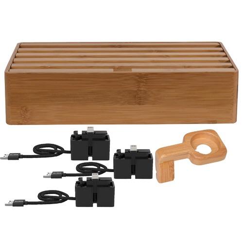 ALLDOCK Large Bamboo 6 Port & ALLDOCK Accessories Set