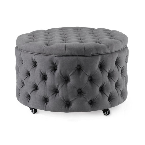 Hyde Park Home Large Black Jessica Storage Ottoman