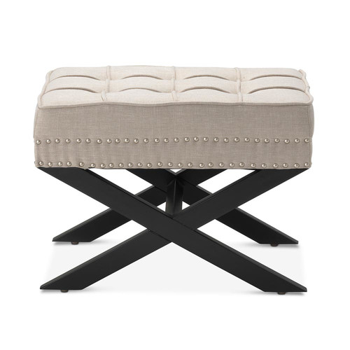 Hyde Park Home Taupe Vanessa Ottoman Stool