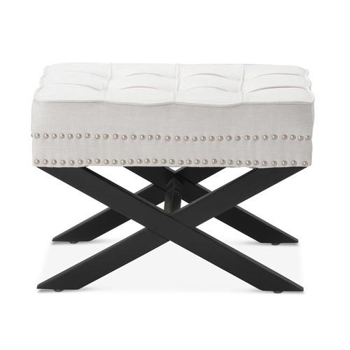 Hyde Park Home Linen White Vanessa Upholstered Footstool