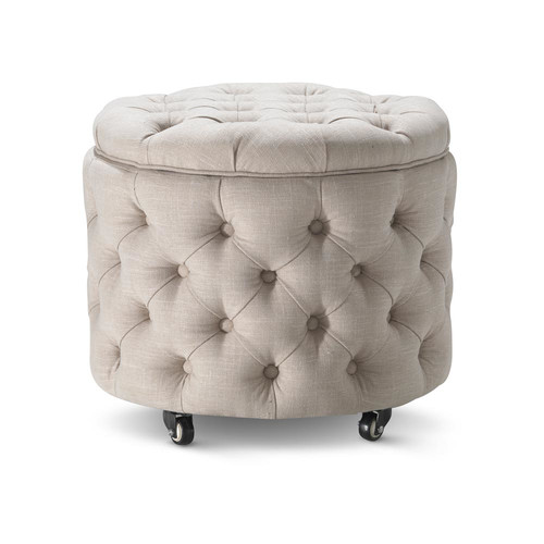 Hyde Park Home Small Taupe Jessica Storage Ottoman