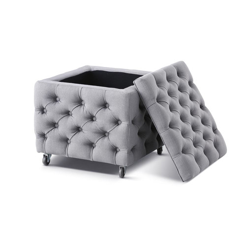 Hyde Park Home Wolf Grey Sheffield Square Storage Ottoman