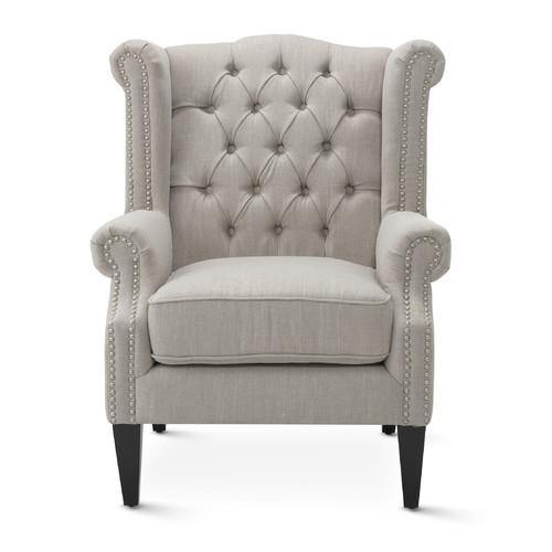 Hyde Park Home Taupe Duke Wingback Armchair