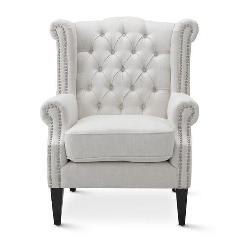 Hyde Park Home Off-White Duke Wingback Armchair