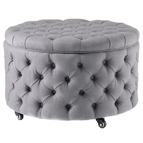 Hyde Park Home Grey Large Jessica Storage Ottoman