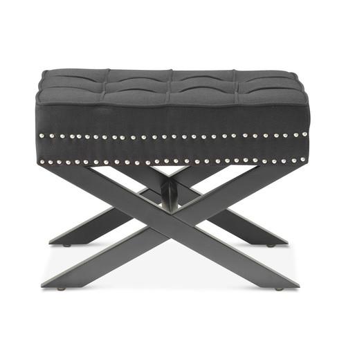 Hyde Park Home Black Vanessa Upholstered Footstool