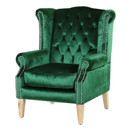 Hyde Park Home Emerald & Oak Duke Wingback Armchair