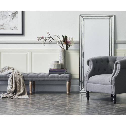 Hyde Park Home Grey Hailey Dressing Bench
