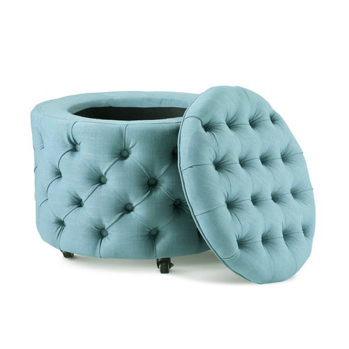 Hyde Park Home Small Teal Jessica Storage Ottoman