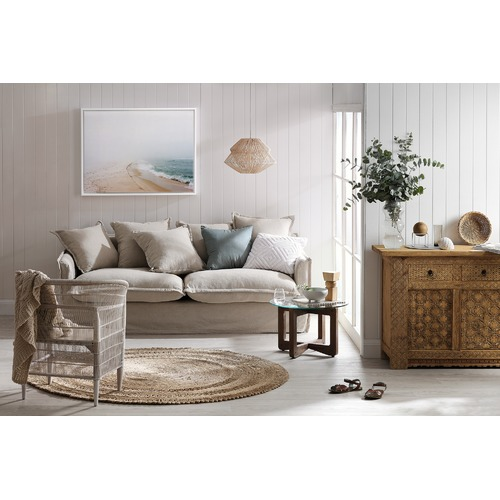 Hyde Park Home Stone Cumulus 3 Seater Linen Slipcover Sofa