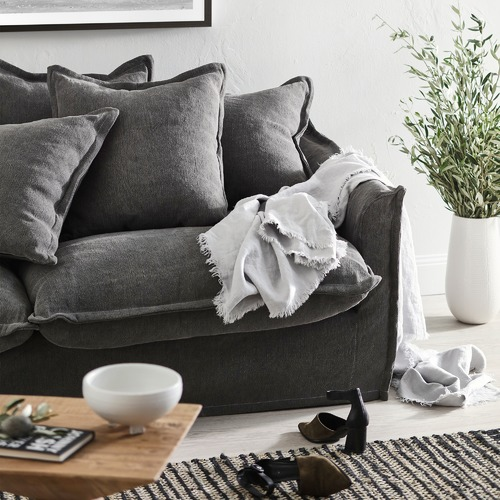 Hyde Park Home Slate Cumulus 3 Seater Slipcover Sofa